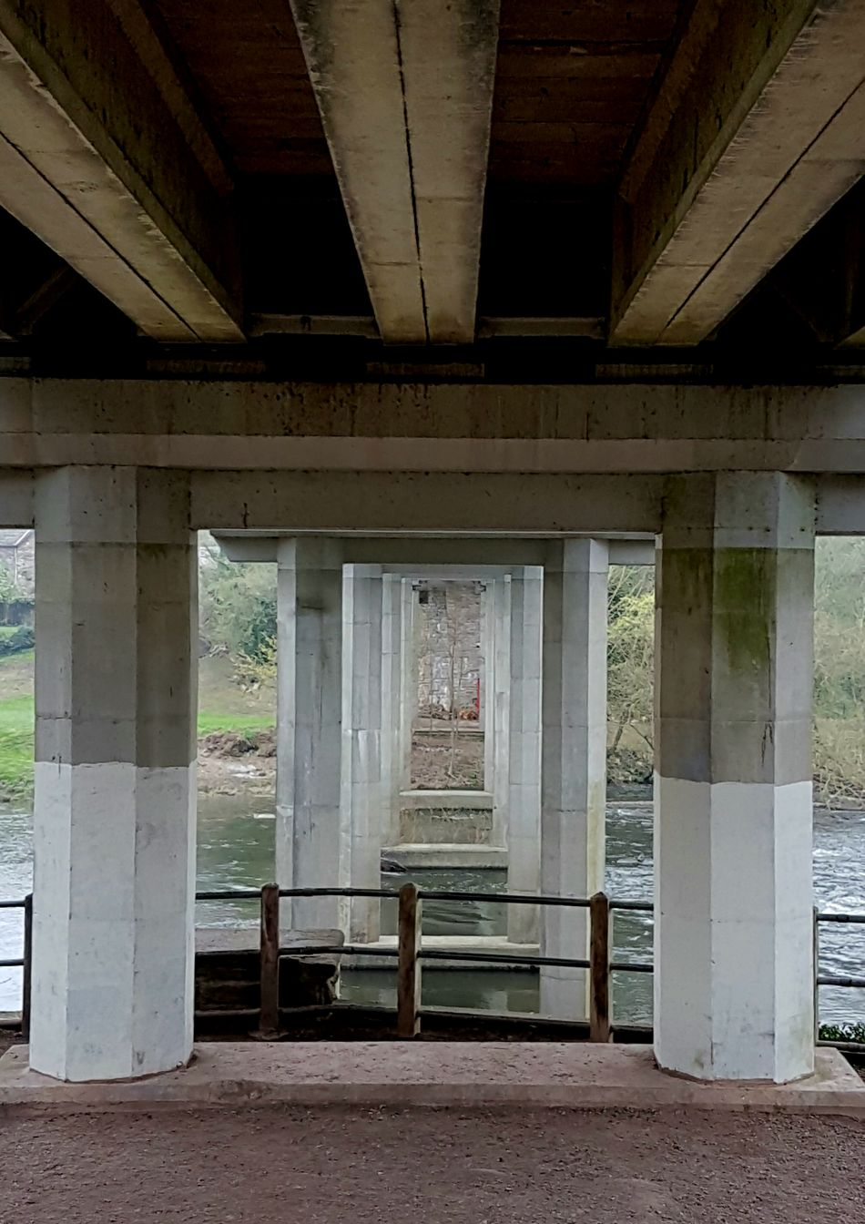 Built Structure Architecture Architectural Column No People Bridge - Man Made Structure Underneath Day Concrete Bridge Steel Beams. Symmetry