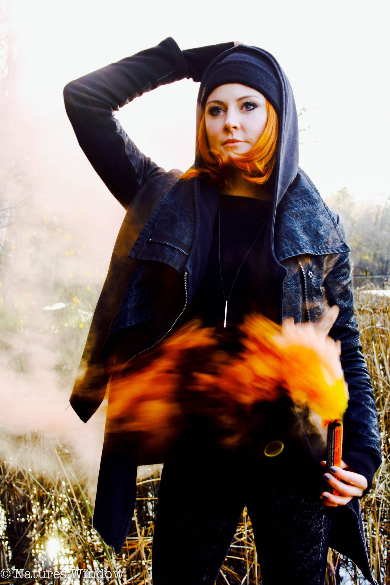 Smokebomb Young Women Real People One Person Standing Portrait Nature Photography Pyrotechnics Nature