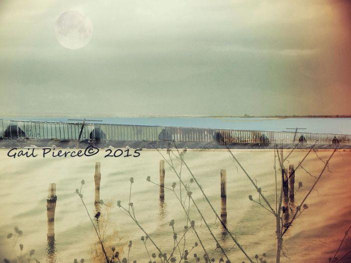 Moon over Salton Sea. Salton Sea, Digital Expression Rustic, Faux Distressed