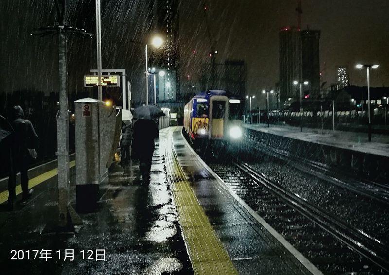 Transportation Rail Transportation Night No People Outdoors Cold Snowing London