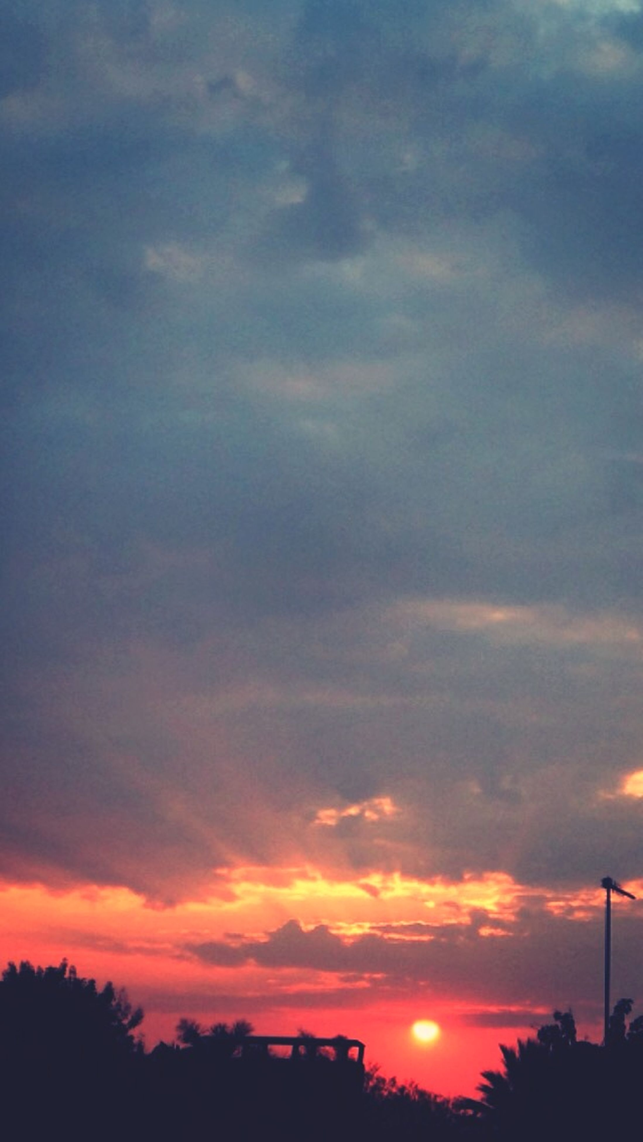 sunset, silhouette, sky, beauty in nature, scenics, orange color, tranquility, tranquil scene, cloud - sky, low angle view, tree, nature, idyllic, dramatic sky, cloud, cloudy, moody sky, outdoors, no people, majestic