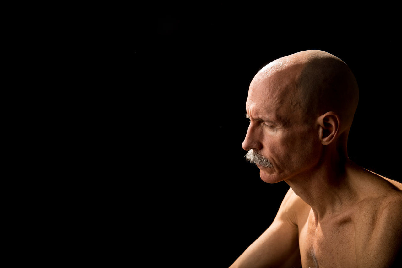 Beautiful stock photos of black background,  54-59 Years,  Caucasian Ethnicity,  Completely Bald,  Contemplation