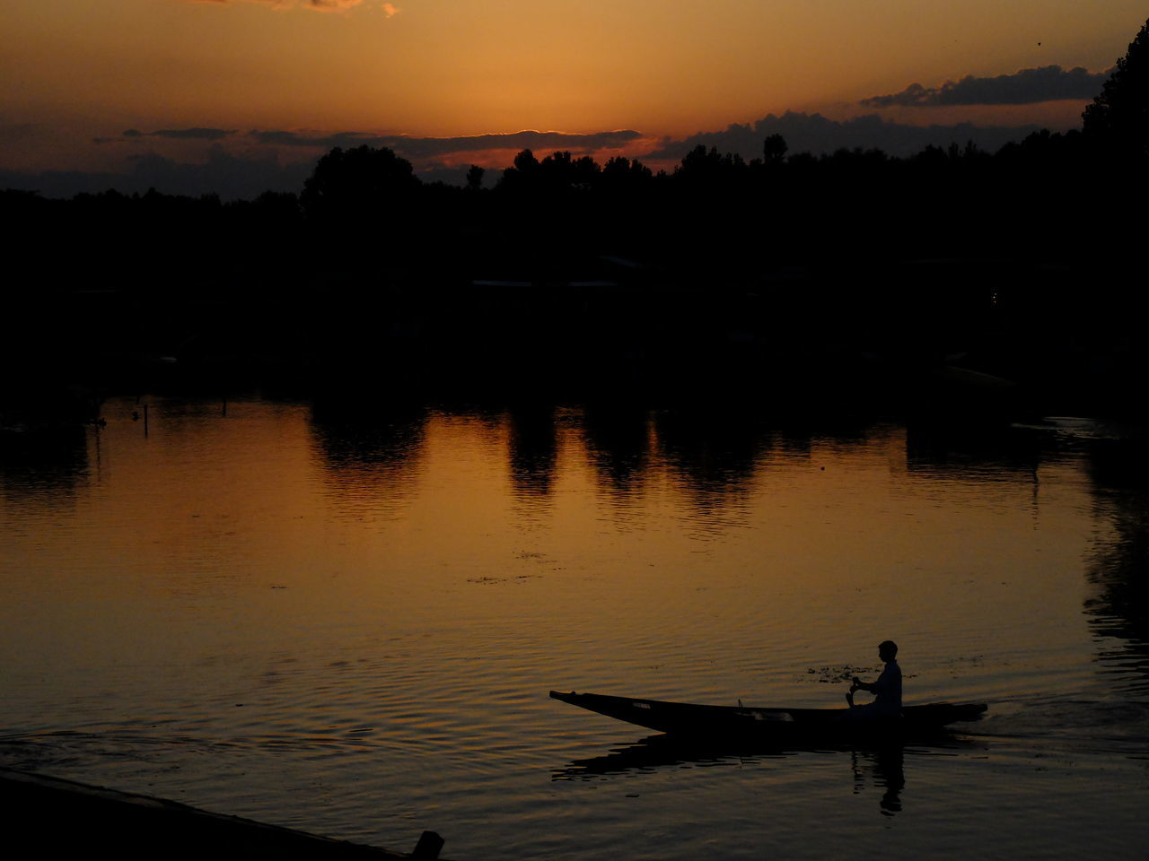 Adult Adults Only Beauty In Nature Day Lake Men Nature Nautical Vessel One Man Only One Person Only Men Orange Color Outdoors People Real People Reflection Rowing Scenics Silhouette Sky Srinagar Kashmir Sunset Tranquil Scene Tranquility Water