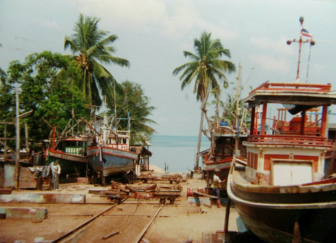 Spotted In Thailand Boat Building Fishing Boats Slipway Palm Trees Bang Sa-Re Fishing Village Vintage Photo Film Photography