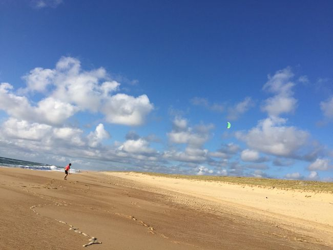 Beach Blue Cloud Cloud - Sky Flying A Kite Kite Leisure Activity Nature Sand Shore Sky Vacations