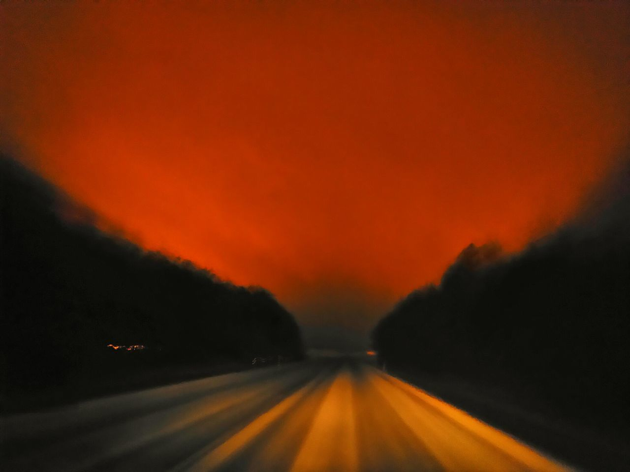 road, transportation, orange color, the way forward, no people, nature, sunset, outdoors, scenics, beauty in nature, mountain, night, sky