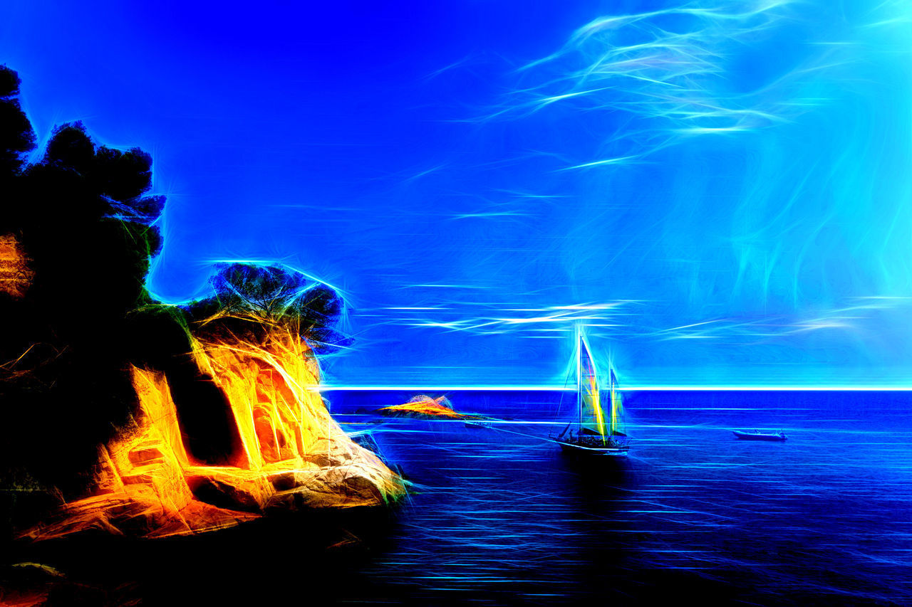 Beauty In Nature Illuminated Nature Nautical Vessel Night No People Outdoors Sailboat Sailing Ship Sea Sky Star - Space Topaz Glow Water