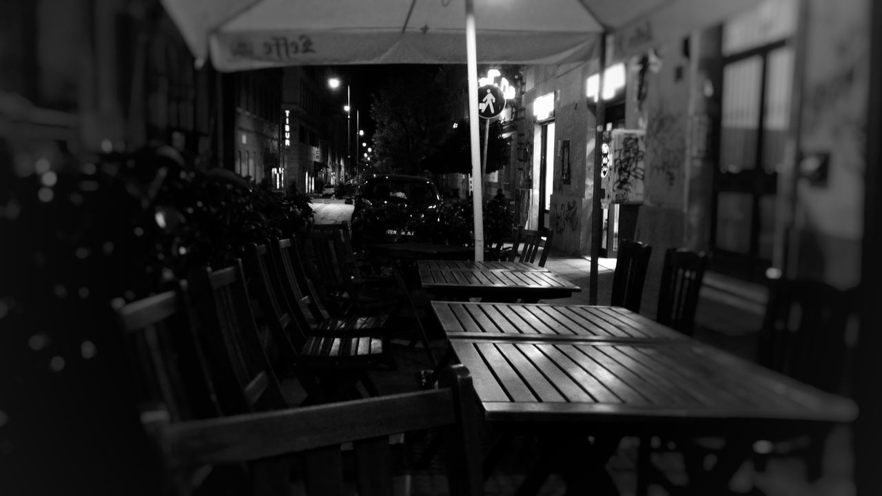 table, chair, cafe, night, no people, indoors, architecture