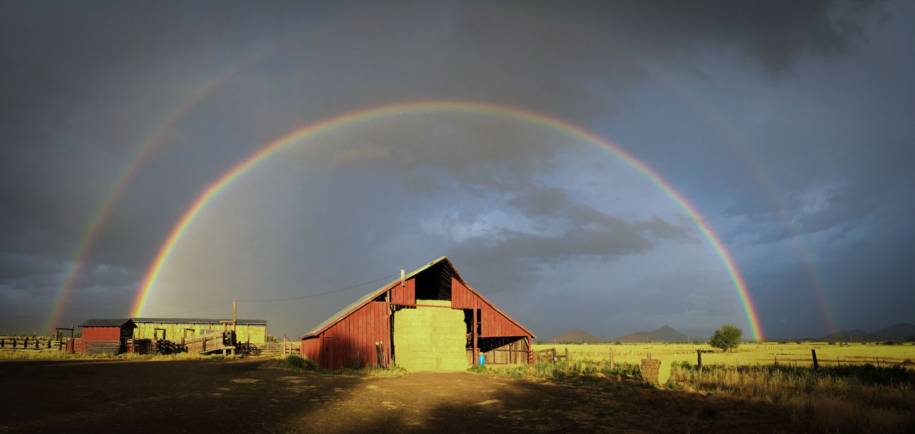 Atmospheric Mood Beauty In Nature Double Rainbow Dramatic Sky Hay Barn Landscape Moody Sky Nature No People Northern California Outdoors Rainbow Rainbow Colors Scenics Sky Storm Storm Cloud Sunset