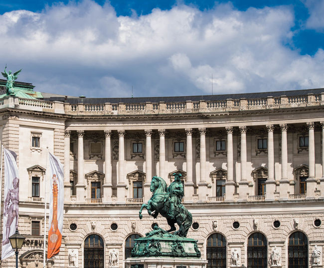 Architecture Art And Craft Australia Building Exterior Built Structure City Cloud - Sky Day Heldenplatz History Hofburg Human Representation Library Nationalbibliothek No People Outdoors Prinz Eugen Prinz Eugen Statue Sculpture Sky Statue Travel Destinations Vienna Wien
