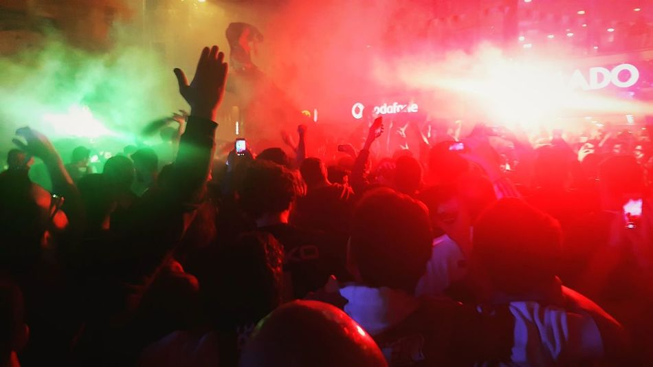 Championship celebrations of Besiktas Istanbul fans. Crowd Nightlife Night People Pyro Red Green Eyeemphotography Istanbul Turkey Color Champions
