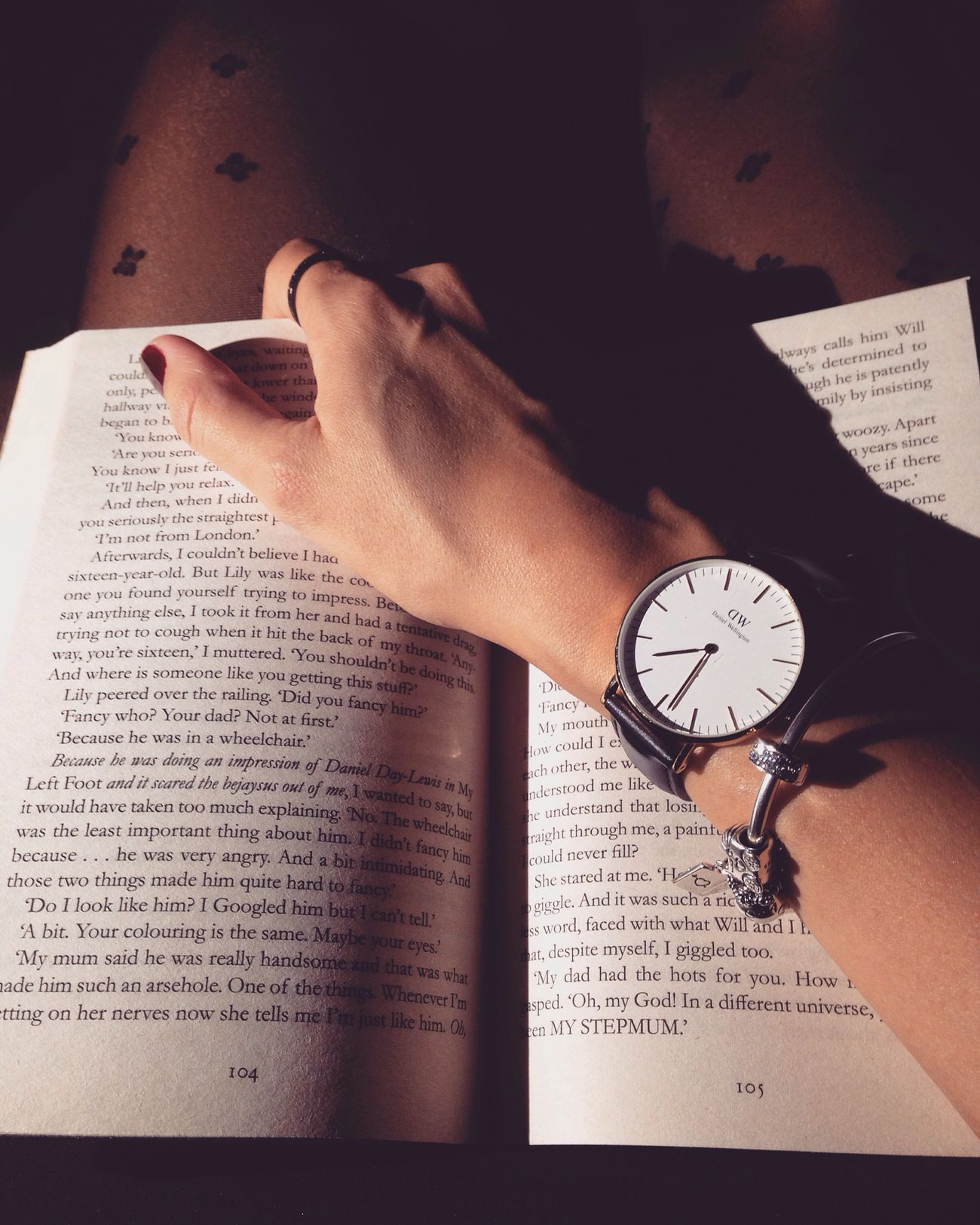 Danielwellington Watch Blackwatch Afteryou Jojomoyes Book Legs Tights Blacktights Winter First Eyeem Photo Pandora Pandorabracelet Monochrome Blackandwhite
