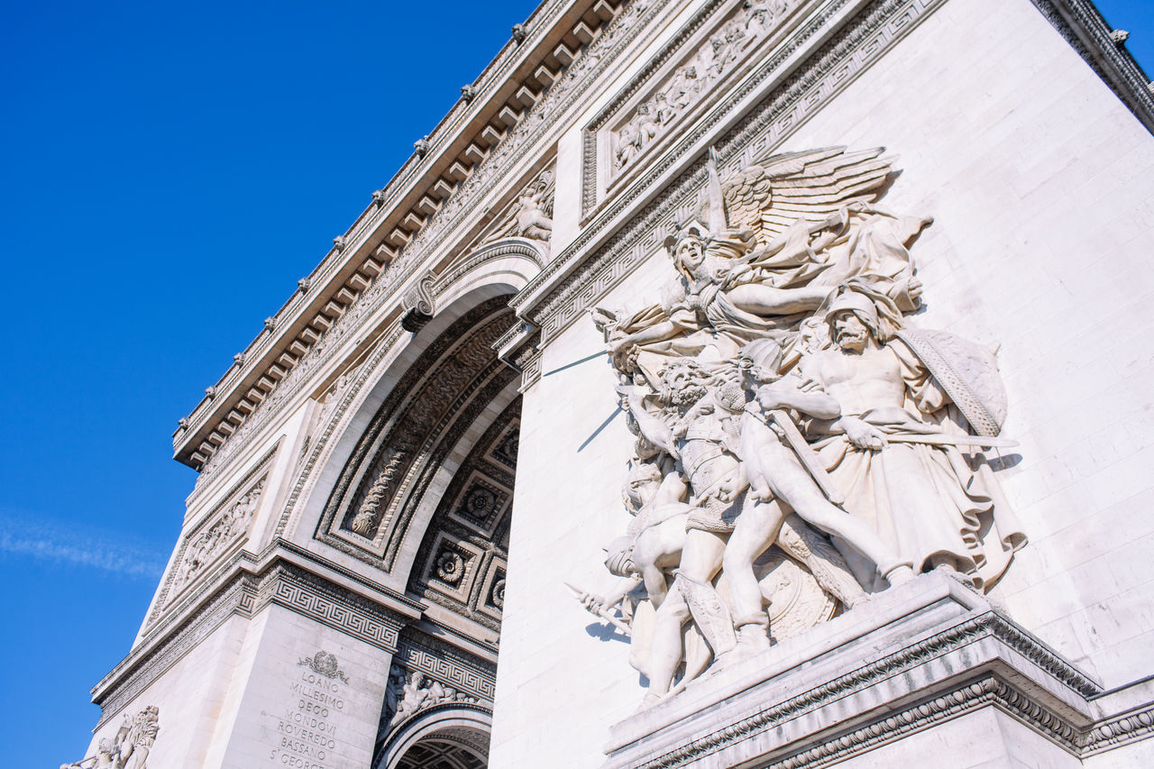 Arc de Triomphe Arc De Triomphe Architecture Art And Craft Baroque Style Building Exterior Built Structure City Day Female Likeness France History Human Representation Landmark Low Angle View Male Likeness Monument No People Outdoors Paris Sculpture Sky Statue Travel Destinations