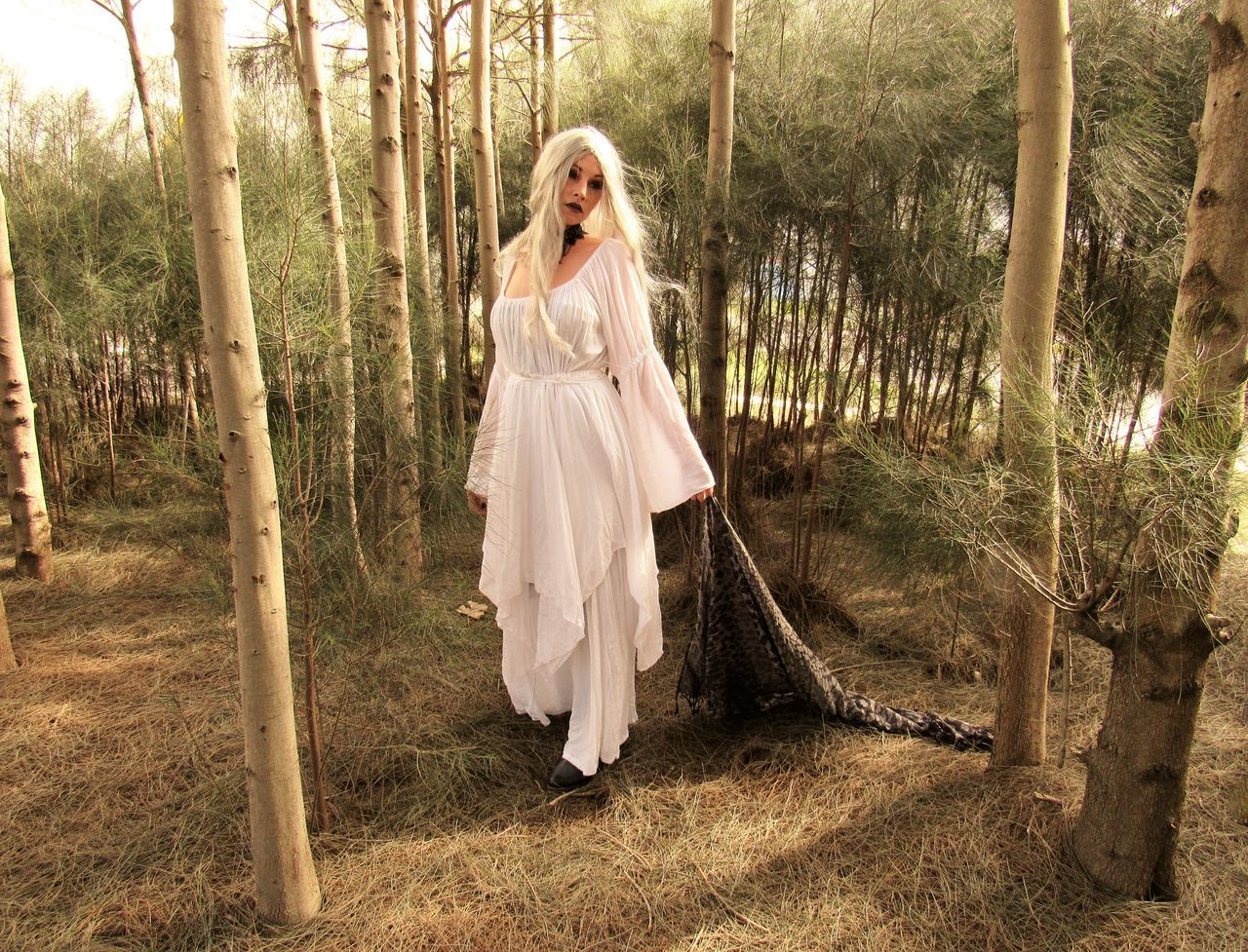 Angela Caven Adult Adults Only Blond Hair Bride Day Full Length Nature One Person One Woman Only Only Women Outdoors People Stage Make-up Tree Walking In Forest Wedding Dress