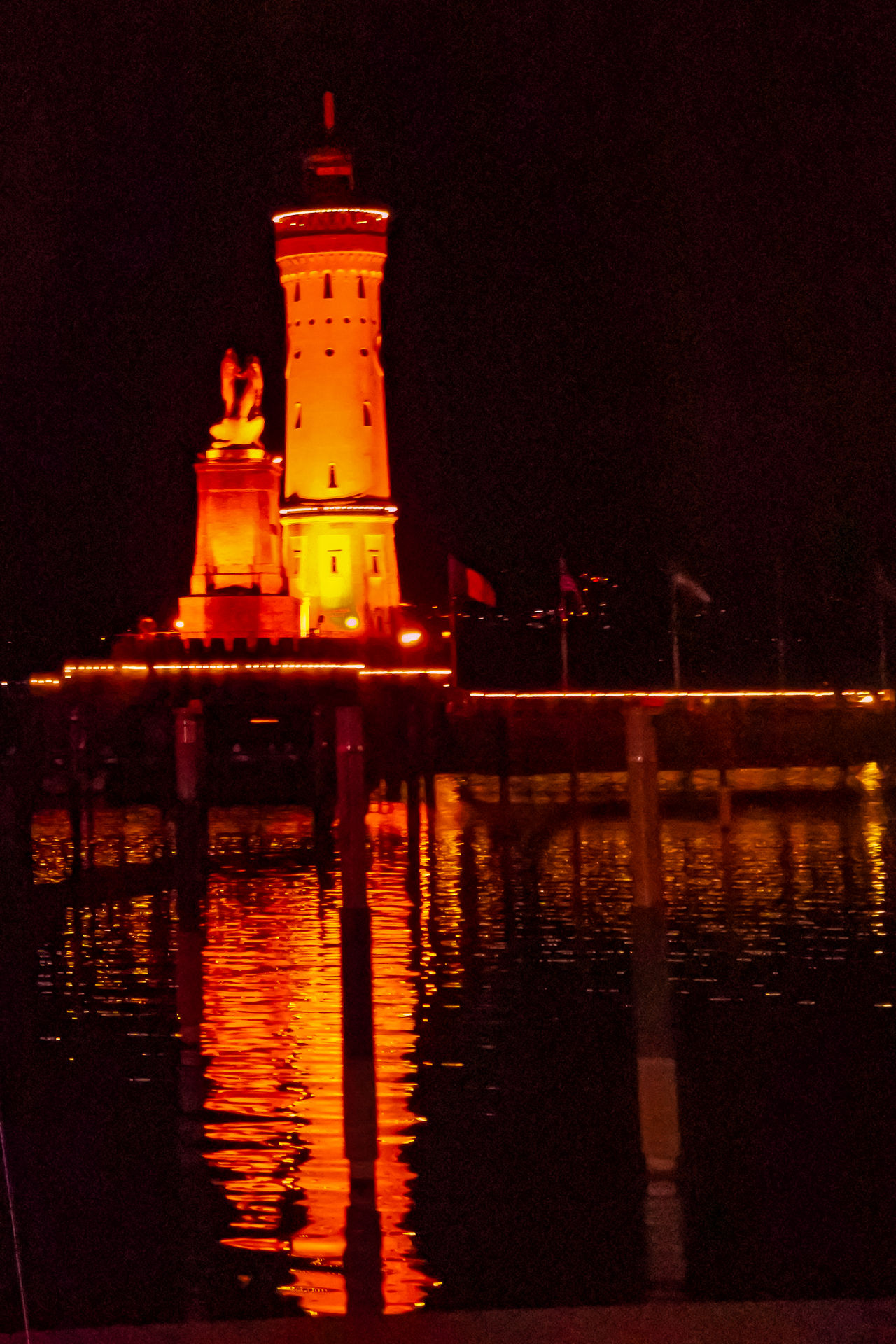 Architecture Astrology Sign Astronomy Illuminated Landmark Lindau Lighthouse Lindau Bodensee Lindau Insel Night Night Lights No People Outdoors Reflection Sky Water Waterfront