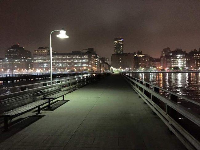 Manhattan Chelsea NYC New York City Nightphotography Pier Night City Dock Street Light Lonely Dark Summer