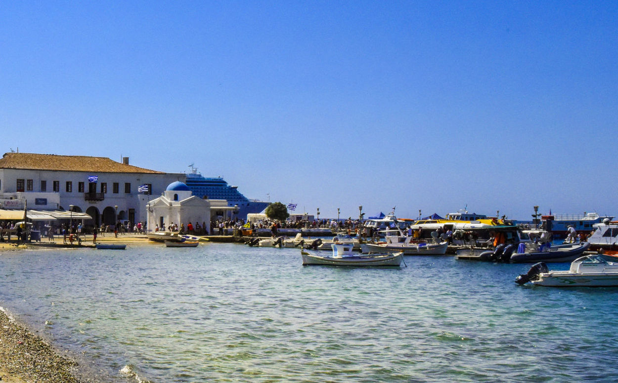 Harbor Mykonos,Greece Architecture Blue Blue Water Blue Water Blue Sky Building Exterior Built Structure Clear Sky Day Go-west-photography.com Greece Harbor View Kyklades Kyklades Islands Mode Of Transport Mykonos Nature Nautical Vessel Outdoors Sky Travel Destinations Water Waterfront White Houses