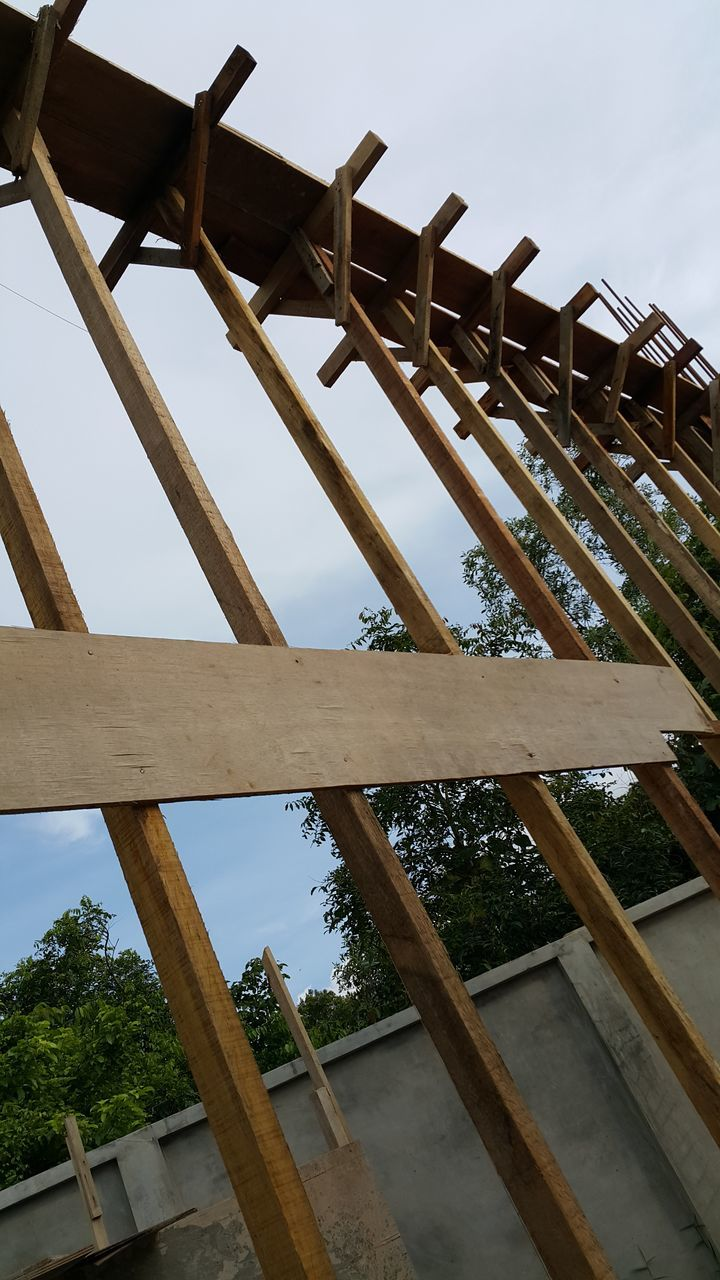 wood - material, low angle view, no people, sky, day, outdoors, nature