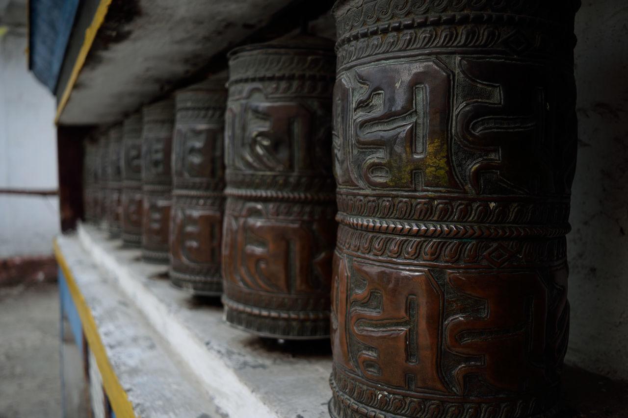 Devotional Monastery Sikkim,india Close-up Mani Wheels No People Place Of Worship Prayer Prayer Wheels