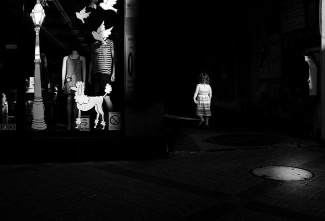 Black Blackandwhite Photography Casual Clothing City City Life Dark Darkness And Light Dream Full Length Illuminated Leisure Activity Lifestyles Monochrome Night Streetphoto_bw Streetphotography Surreal Surrealism