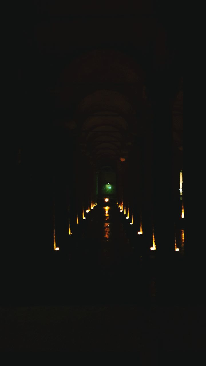 the way forward, in a row, diminishing perspective, illuminated, night, indoors, no people