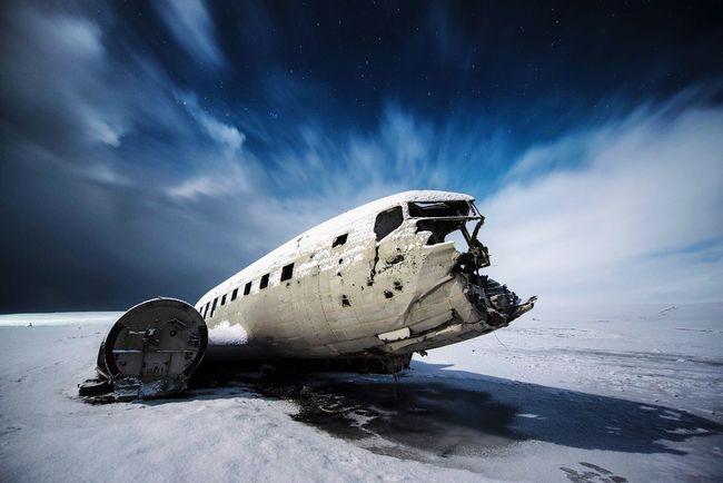 Snow Cold Temperature Iceland Plane Winter Snow Covered Nature Crash Night