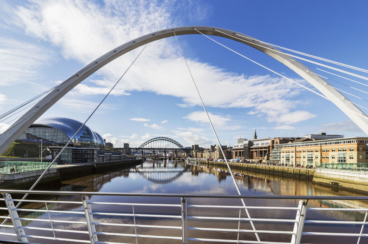 Newcastle quayside and Tyne bridges from the Millennium Bridge, UK Architecture Bridge Bridge - Man Made Structure Building Exterior Built Structure City Cloud - Sky Day Millennium Bridge Newcastle Upon Tyne Quayside River River Tyne Sage Music Centre Sky Tyne Bridge Water