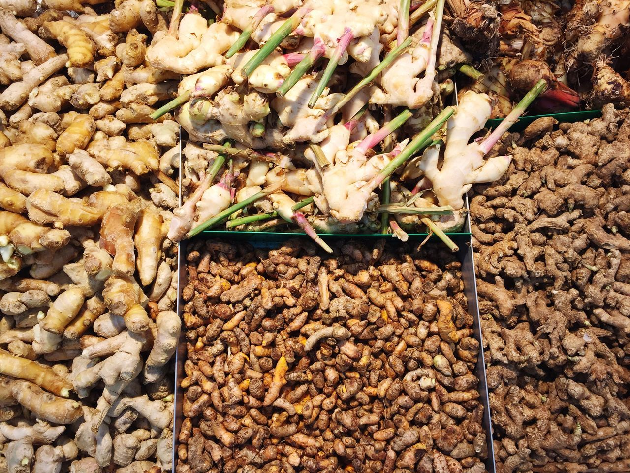 Into the spices Food High Angle View Freshness Food And Drink Healthy Eating No People Outdoors Nature Day DryMarket Market Market Stall Supermarket Spices Of The World Tumeric Ginger