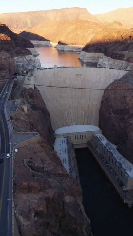 The magnificence of American architecture Travel Travel Destinations Built Structure Architecture Outdoors No People Day Dam Reservoir Hydroelectric Power Hoover Hoover Dam Hooverdam Hoover Dam Bypass Bridge Bridge Overhead View Beautiful