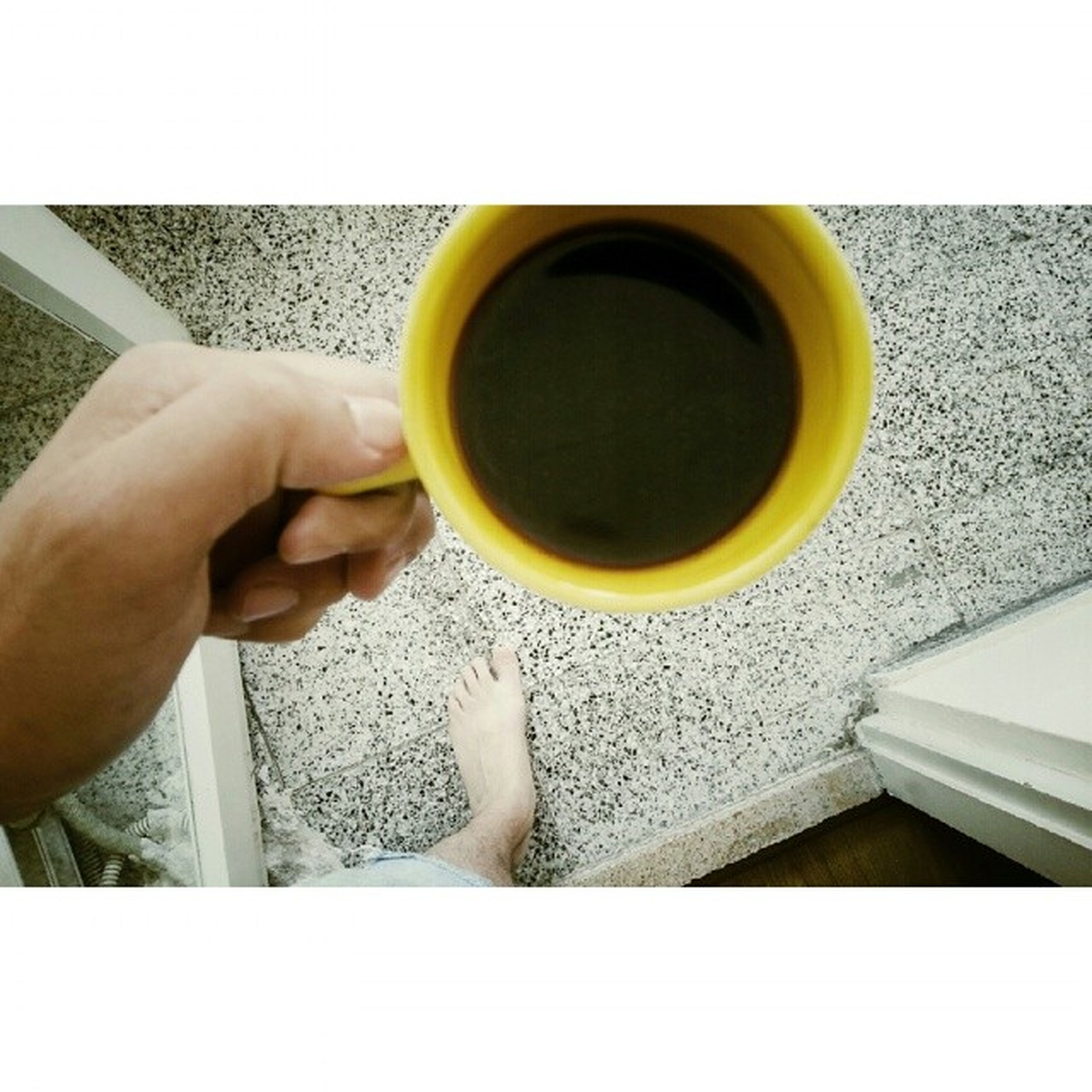 drink, food and drink, refreshment, holding, coffee cup, person, lifestyles, coffee - drink, indoors, freshness, part of, transfer print, leisure activity, coffee, cup, cropped