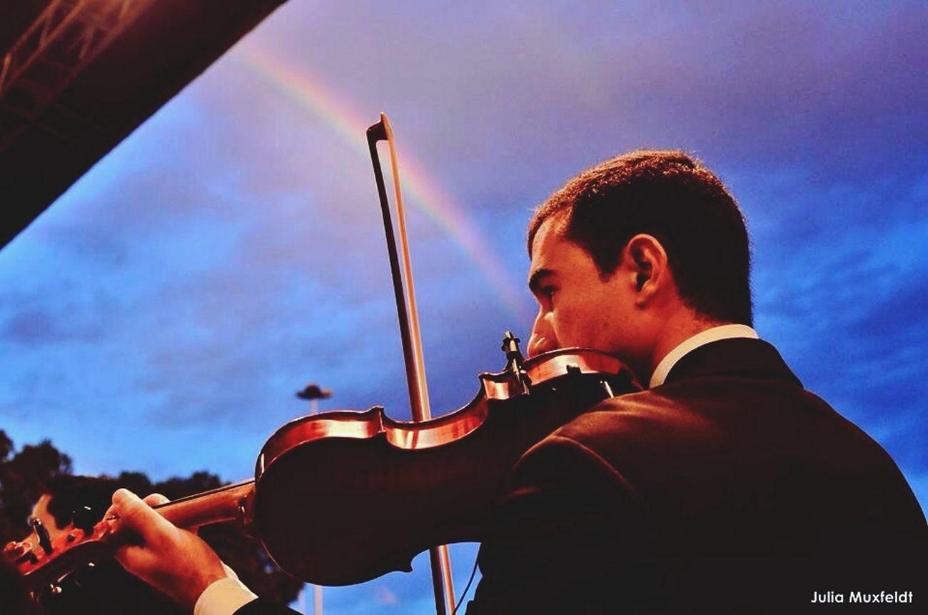 Violino e suas cordas coloridas.