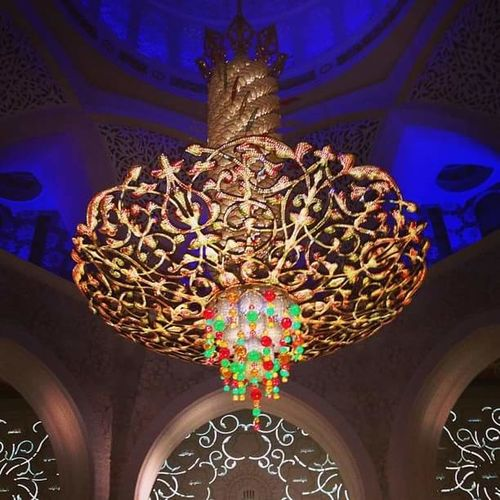 Beautiful Grand Mosque Abu Dhabi Jewels Middle East UAE Chandelier Close-up Indoors  Islamic Architecture Low Angle View Multi Colored No People Opulence  Pattern