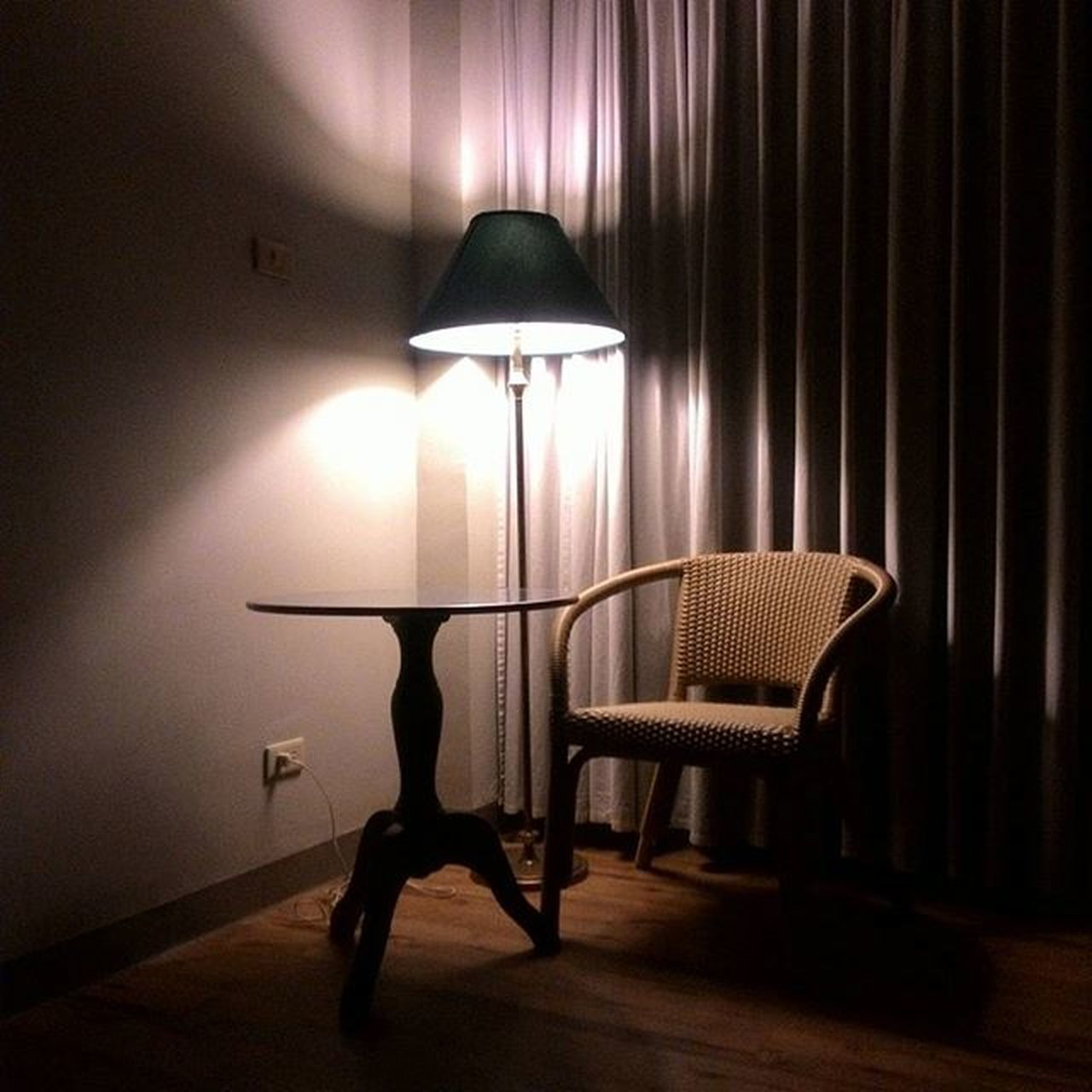 illuminated, electric lamp, lighting equipment, curtain, indoors, chair, lamp shade, no people, floor lamp, electricity, side table, day