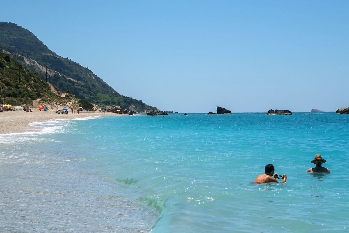 Beach Vacations Sea Swimming Sunny Two People Relaxation Water Tropical Climate Summer Travel Destinations Leisure Activity Enjoyment Travel Lefkada Greece Kathisma Kathisma Beach