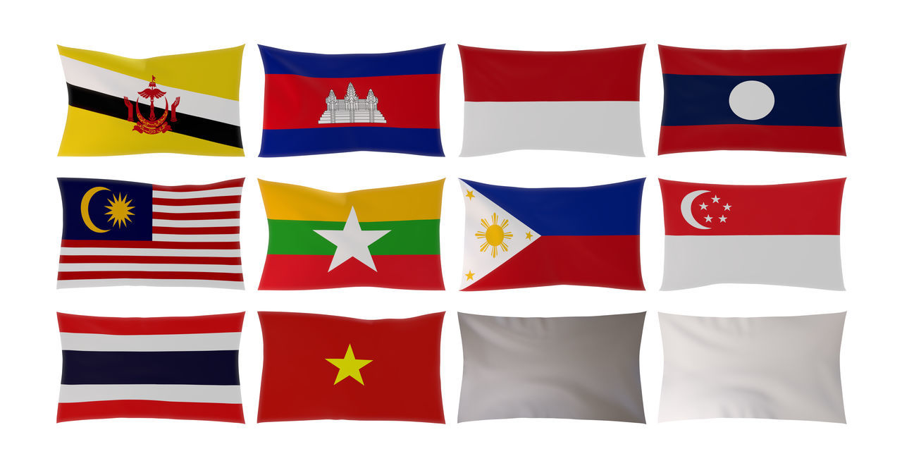 3D rendering of Country flags in South East Asia isolated on white background 3d Rendering ASIA Asian  Association Brunei Darussalam Cambodia Community Country Flag Illustration INDONESIA Laos Malaysia Myanmar Philippines Sign Singapore Southeastasia Thailand Vietnam