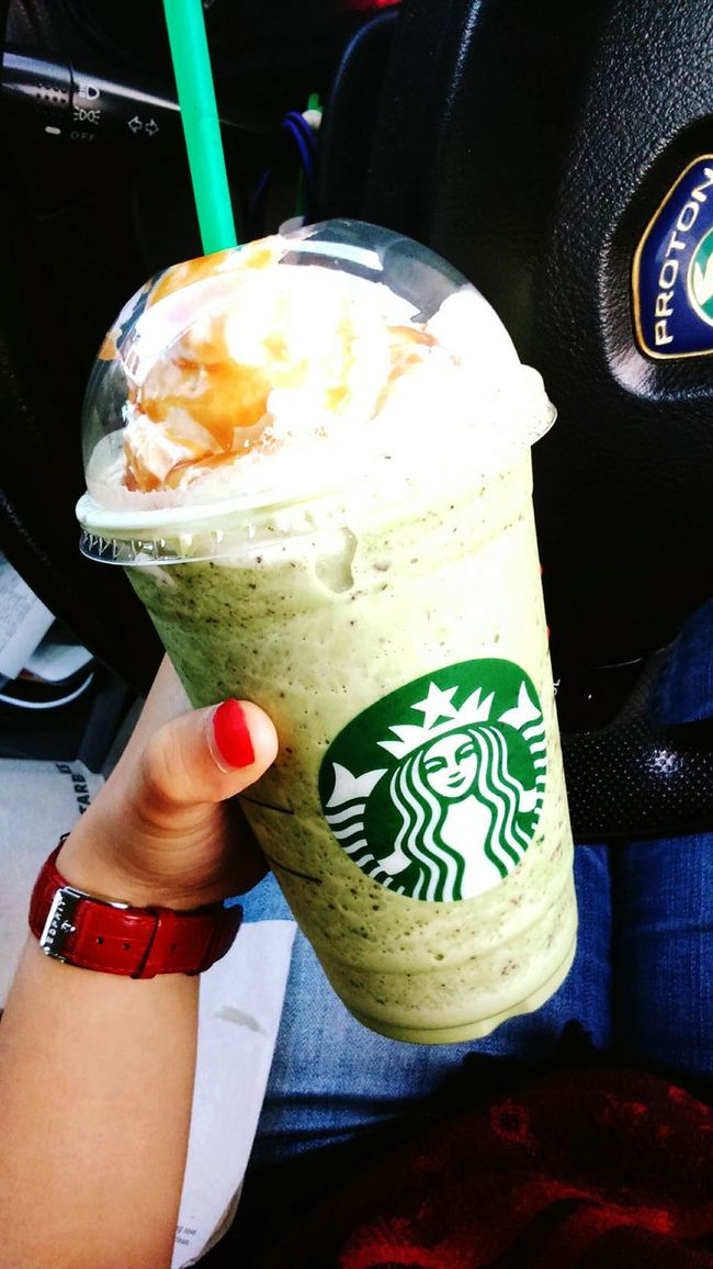 Green tea + chocolate chip + caramel sauce = starbucks Life Goals Feel Refreshed