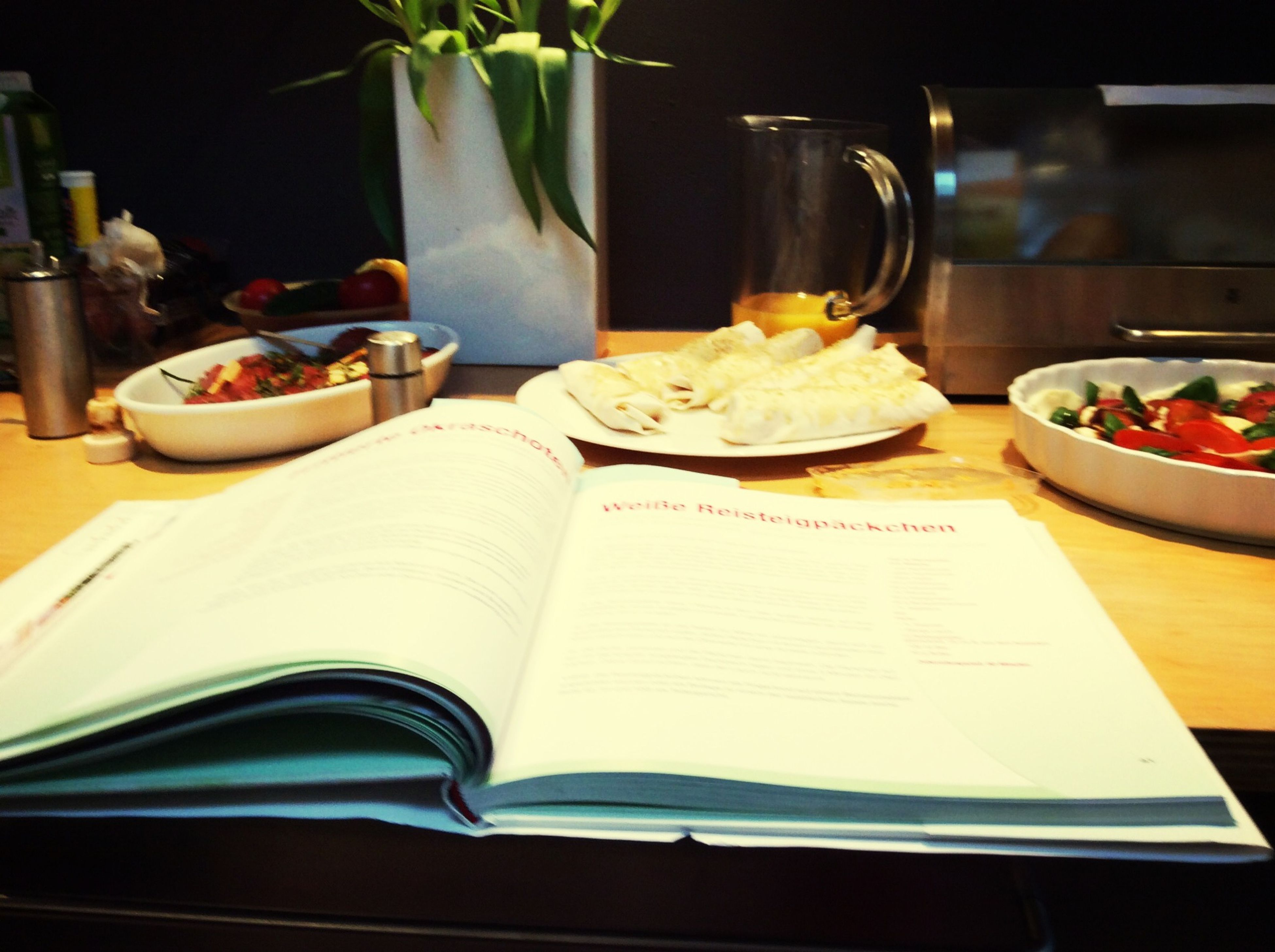 indoors, food and drink, table, food, freshness, variation, restaurant, still life, plate, choice, healthy eating, dining table, book, high angle view, ready-to-eat, paper, for sale, close-up, incidental people, no people