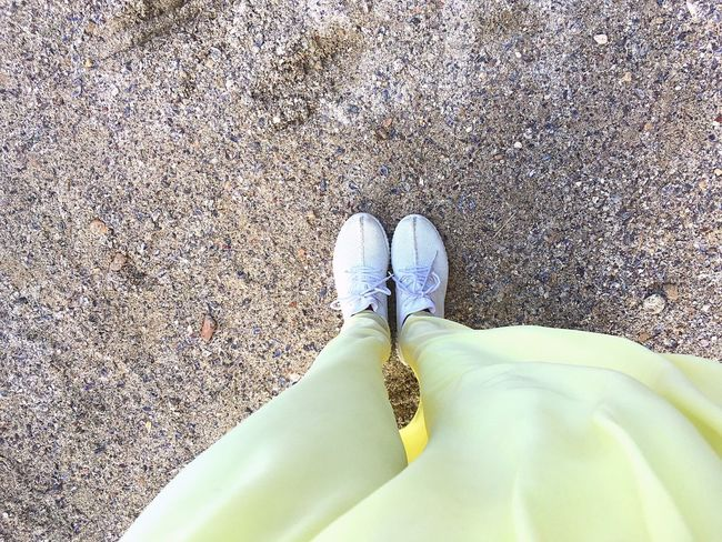 TakeoverContrast By The Sea Yellow Standing Footwear White Skirt Seashell Beauty In Nature Sunny IPhoneography Alexandria Egypt