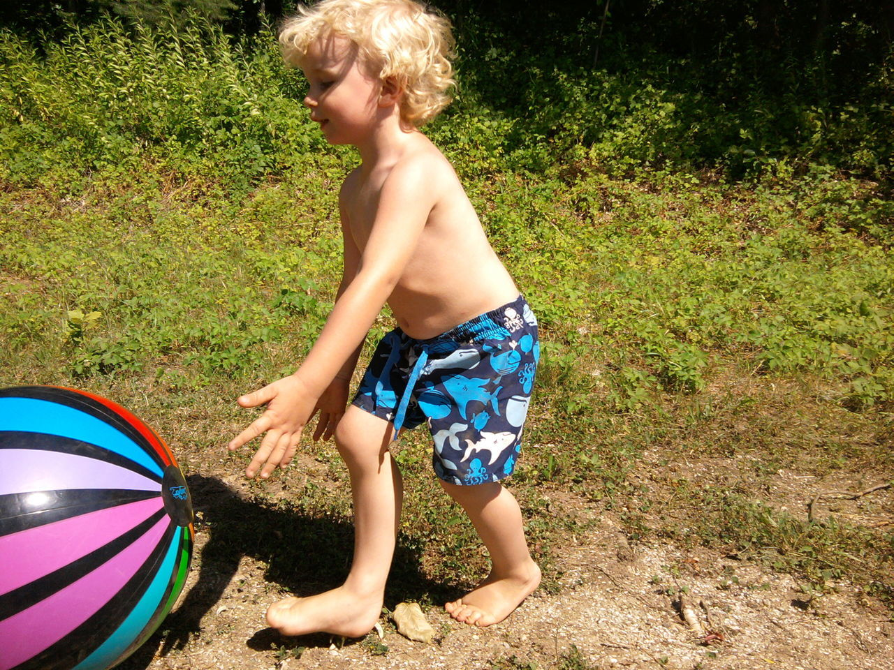Shirtless Boy Playing With Ball On Field
