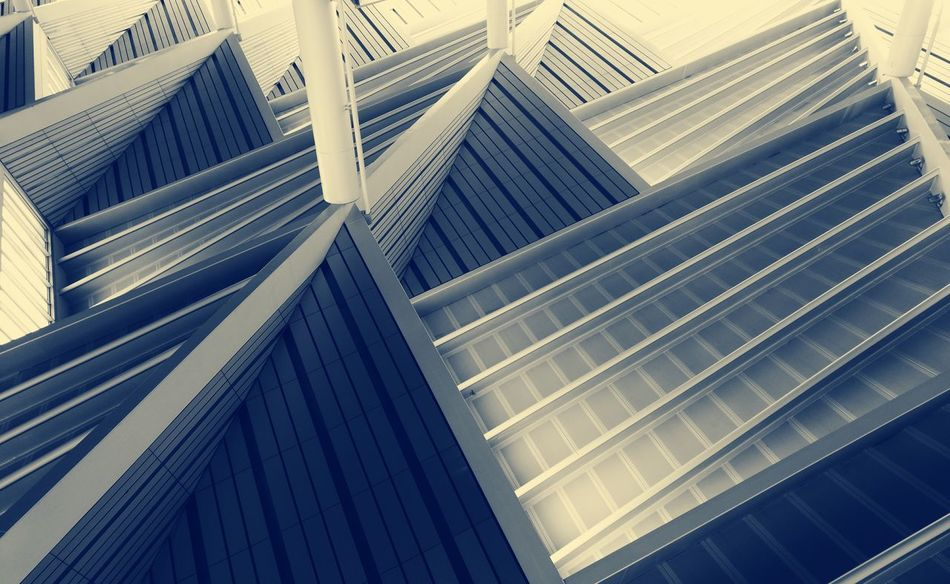 Pattern Architecture Built Structure Backgrounds Building Exterior No People Full Frame Atocha Low Angle View Day Outdoors Close-up Ceiling Upside Down Train Station Blue Monochrome Black And White Geometry Triangle Edges