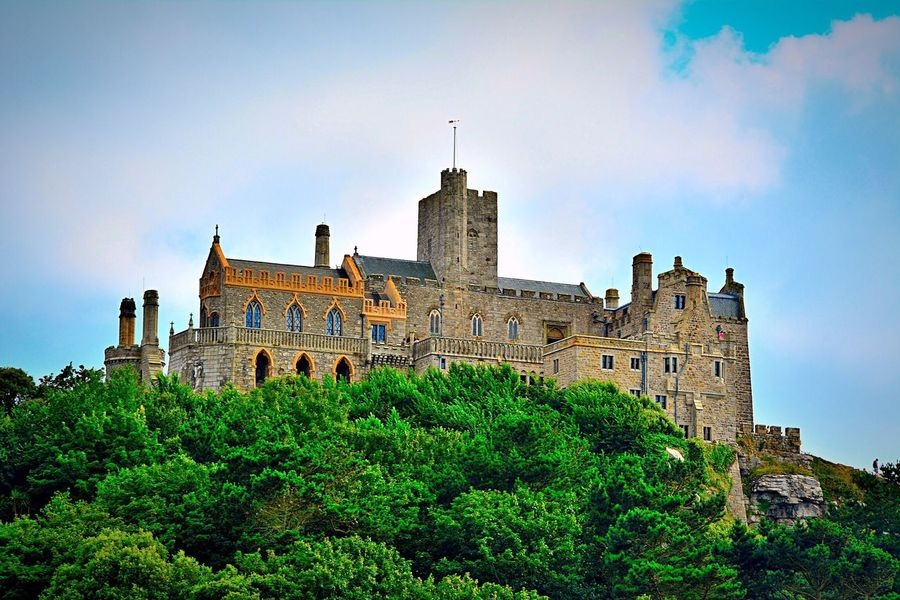 St Michaels Mount Palace Castle Mount Green Landscape Outdoors Day Sky And Clouds Nature Cornwall