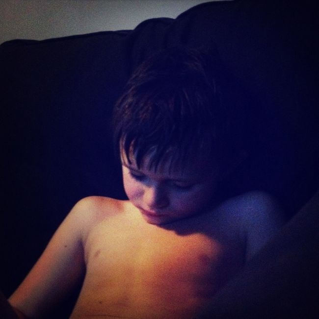 My son fell asleep on the couch. Children