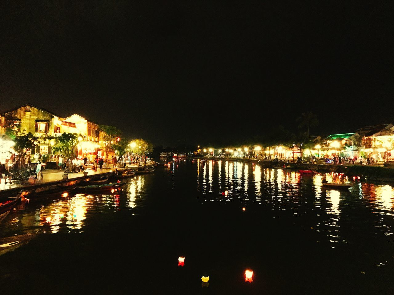 Hoi An Night View Water Reflection Vietnam River View