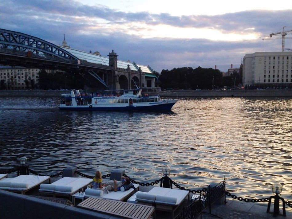 Moscow Moscow Life Riverside River River View Boat Transportation Evening City Evening Relaxing Cities At Night