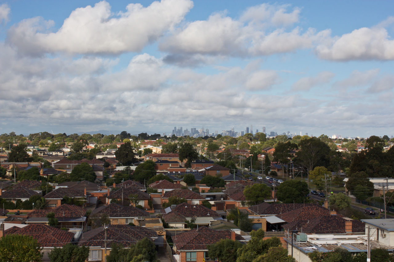 Architecture Building Exterior Built Structure City Cloud - Sky Community Day Horizon Melbourne No People Outdoors Road Roads Roof Sky Skyline Suburb Suburbia Suburbs Sunshine Tree West-side