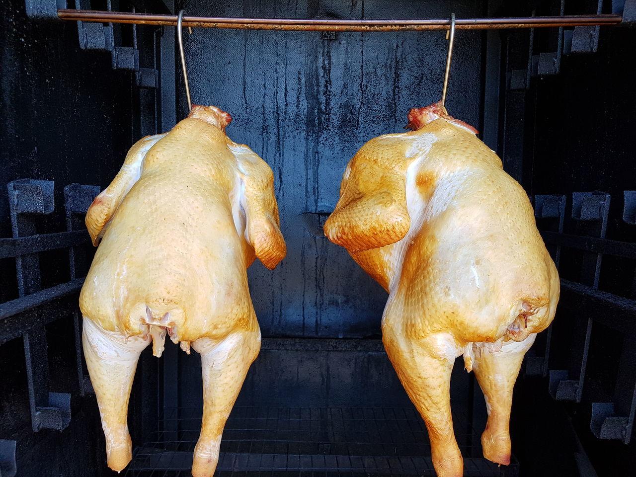 Hanging Close-up Smoke Smoking Turkey Food BBQ Meat Processing Kitchen Life