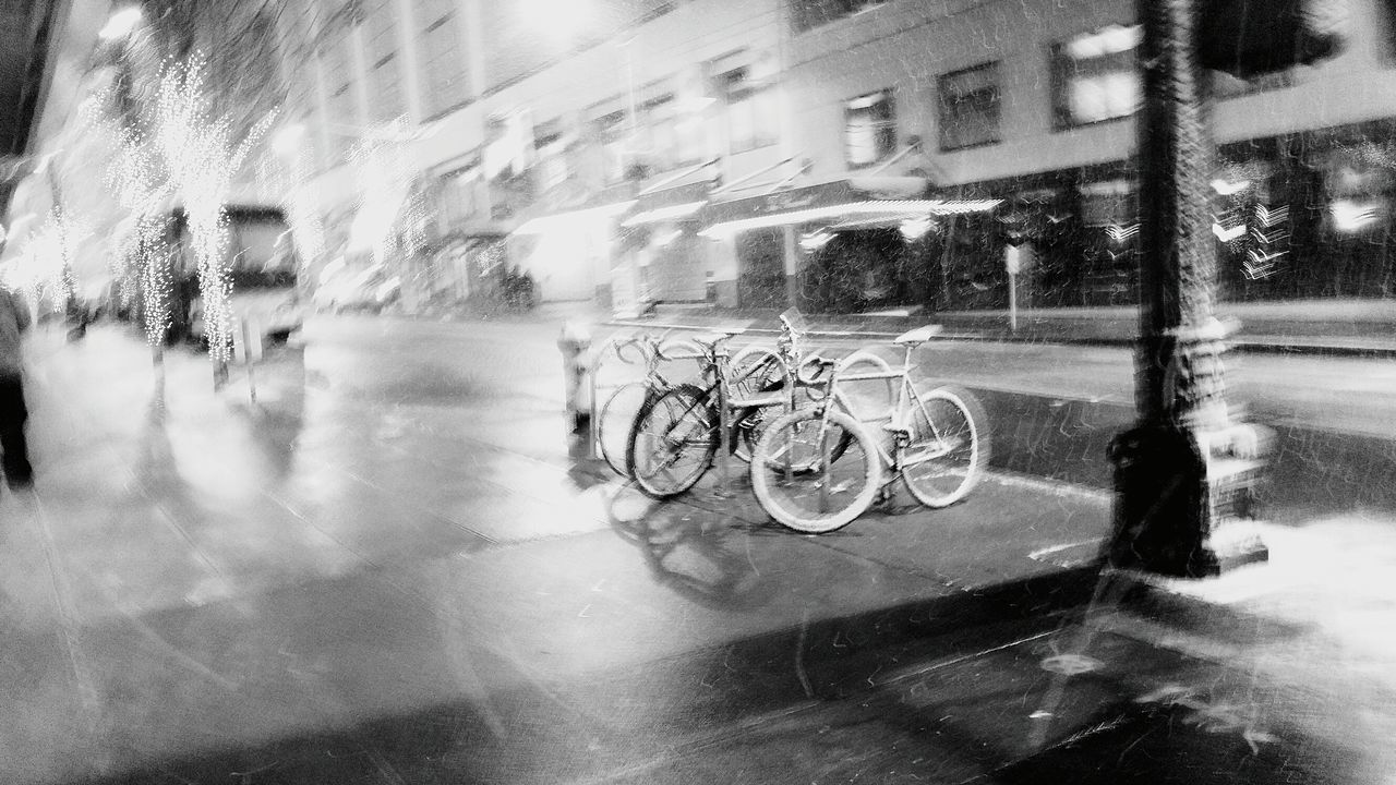Close-up Outdoors No People Bikes City Background Black And White Christmas Snow