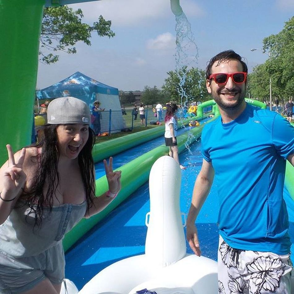 Earlier today with @jenndecan getting ready to go on the EskaQuest Slidethecity swan! Talk about a good time!!!