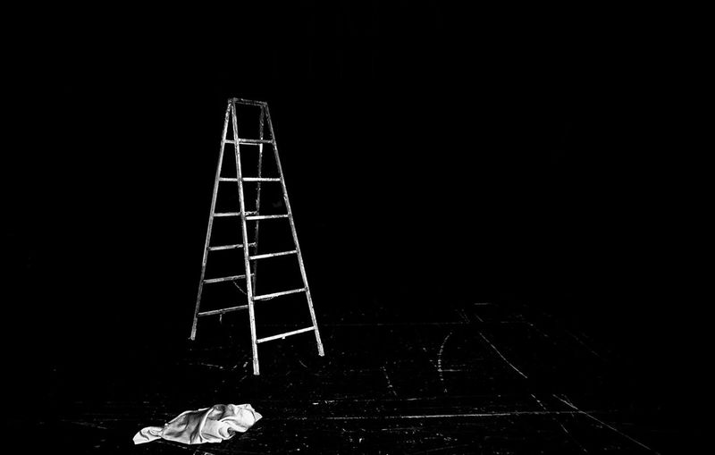 the ladder Documentary Black And White Black Background Night No People Quiet Serene Still The Ladder The Stage
