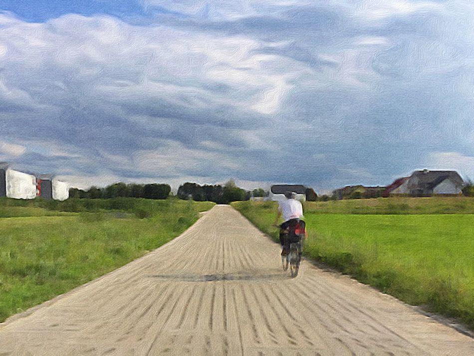 Lonely Biker On The Edge Of Reality - Gdynia 22 June 2016 ( IPhone 6+ ) IPhoneography Iphone 6 Plus Painterly Landscape_Collection Landscape View Rural Scene Suburb Biker Cyclist Rural Gdynia Poland EyeEm Gallery EyeEmBestPics EyeEm Best Shots EyeEm Best Edits EyeEm